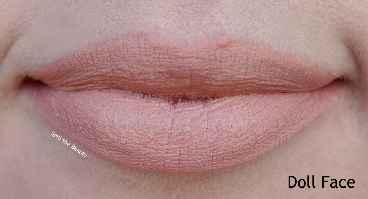 too faced peach kiss moisture matte long wear lipstick swatches review doll face