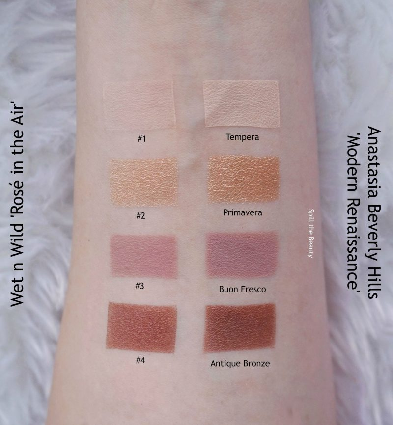 wet n wild rose in the air swatches review comparison dupe anastasia beverly hills modern renaissance eyeshadow