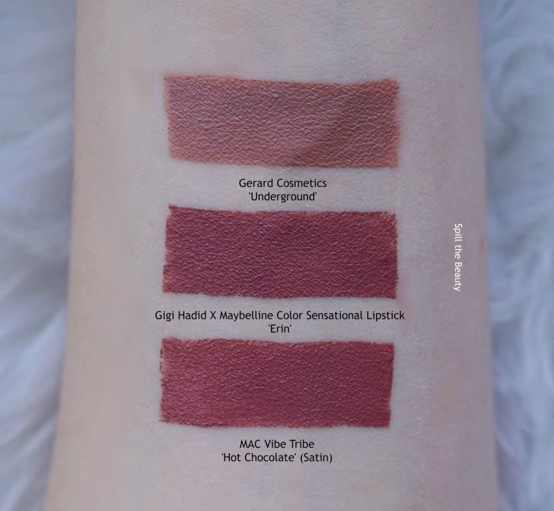 gigi hadid maybelline lipstick swatch erin comparison dupe mac hot chocolate gerard cosmetics underground