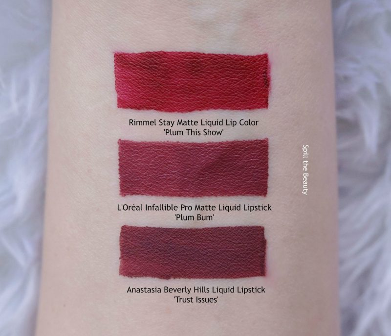 l'oreal infallible pro matte liquid lipstick plum bum swatches comparison dupe