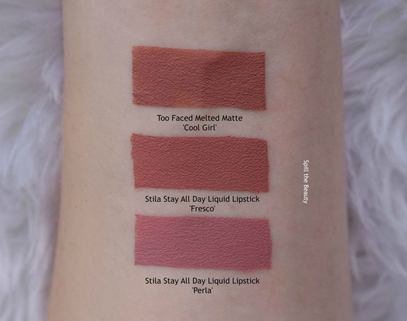 stila stay all day liquid lipstick fresco swatch comparison dupe too faced