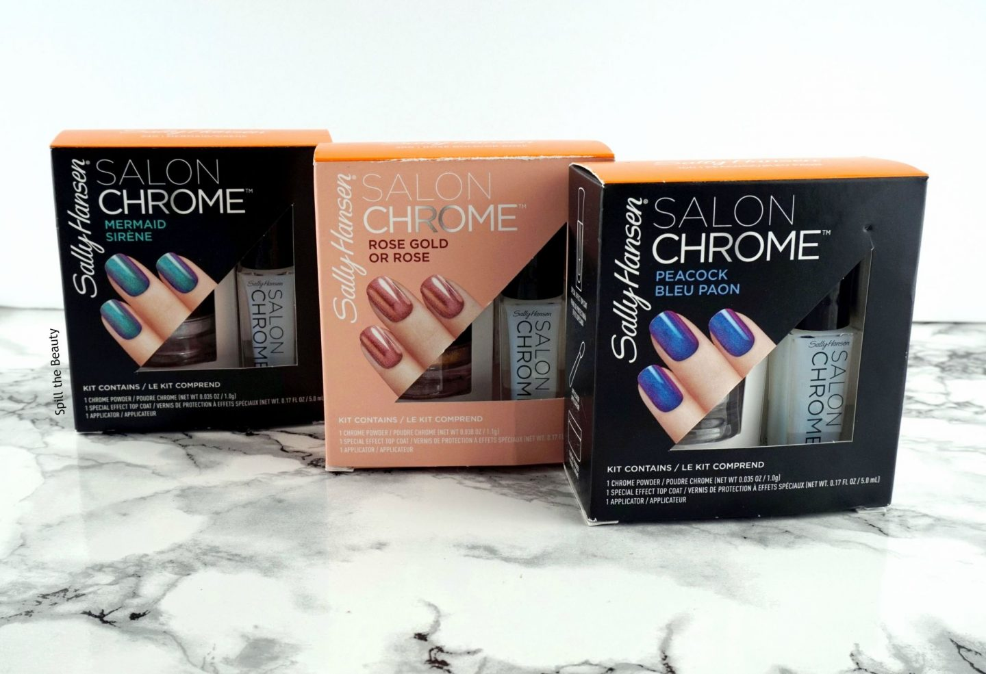 Sally Hansen Chrome Kit in 'Mermaid', 'Rose Gold', and 'Peacock' – Review and Swatches