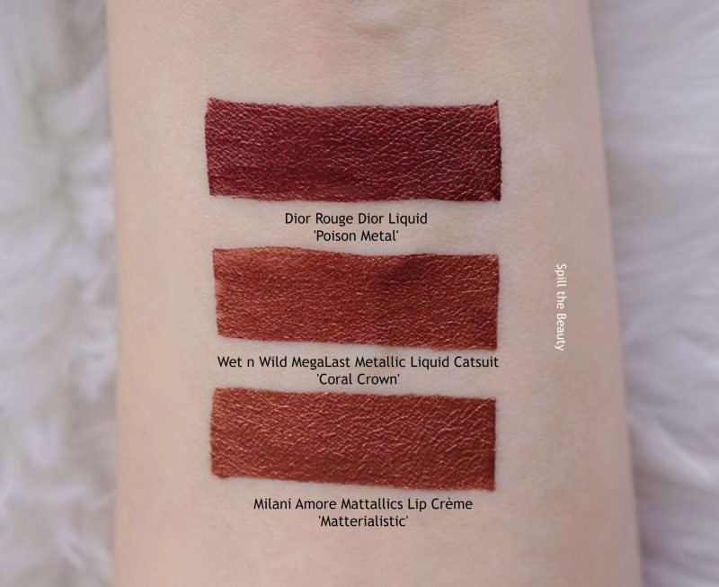 Wet n Wild MegaLast Metallic Liquid Catsuit Coral Crown swatch comparison dupe dior poison metal milani matterialistic