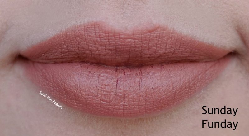 too faced moisture matte long wear lipstick swatches review Sunday Funday