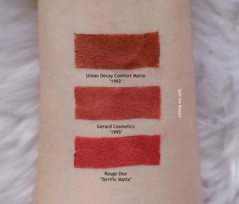 gerard cosmetics 1995 swatches comparison dupe urban decay 1993 dior terrific matte