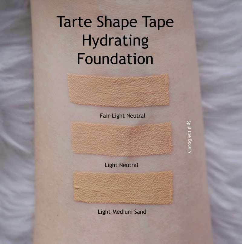 tarte shape tape hydtrating foundation review swatches before and after fair light neutral light neutral light-medium sand