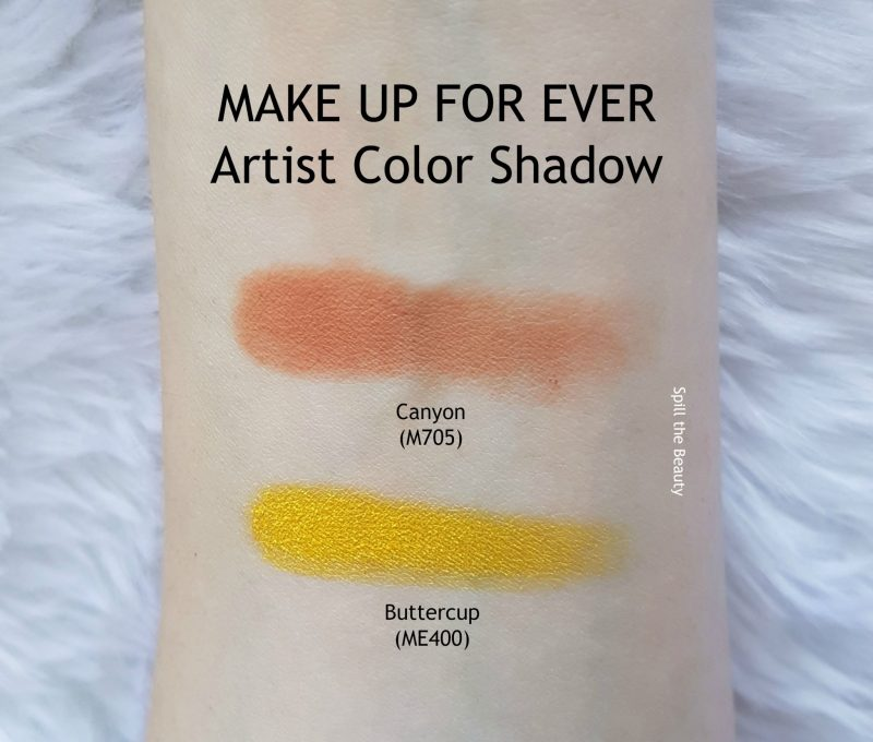 MAKE UP FOR EVER Artist Color Shadow review swatches canyon M705 Buttercup ME400