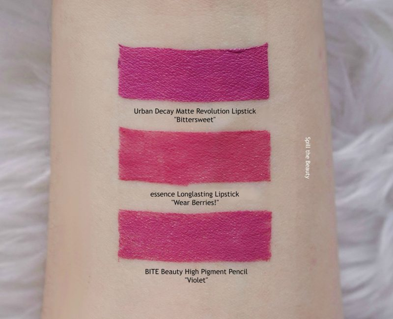 essence longlasting lipstick wear berries! swatches comparison dupe urban decay bittersweet bite beauty violet