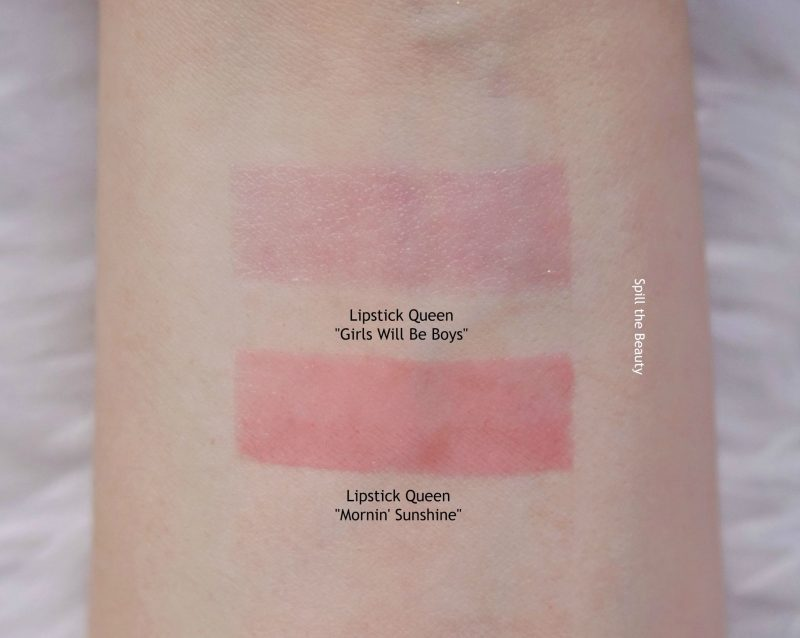 lipstick queen swatches girls will be boys comparison dupe mornin sunshine