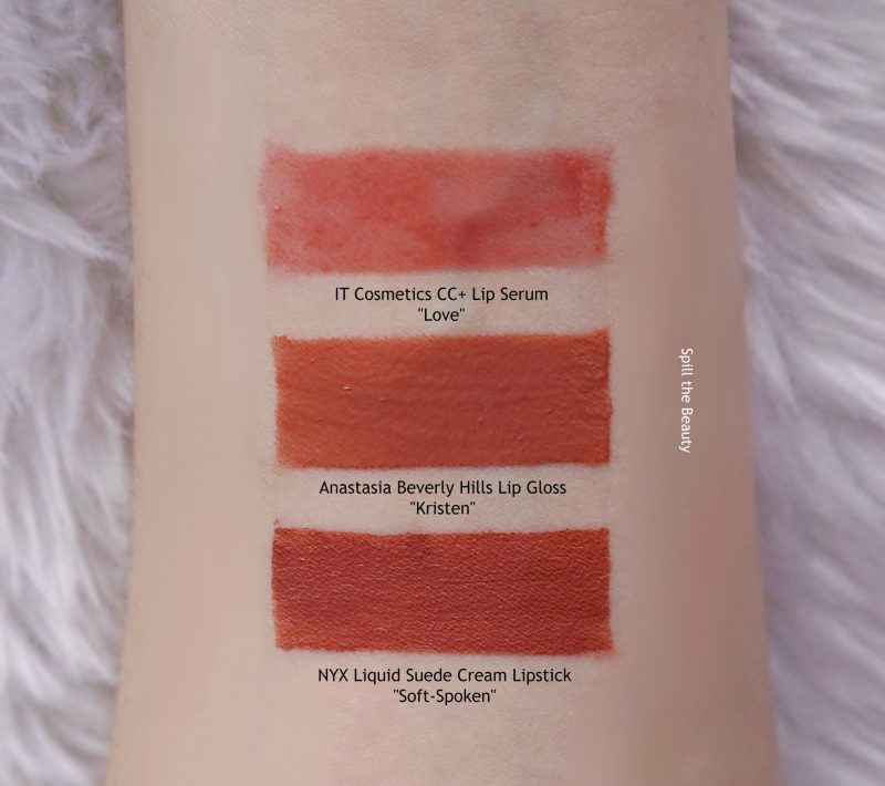 anastasia beverly hills lip gloss kristen swatches comparison dupe it cosmetics love nyx liquid suede soft spoken
