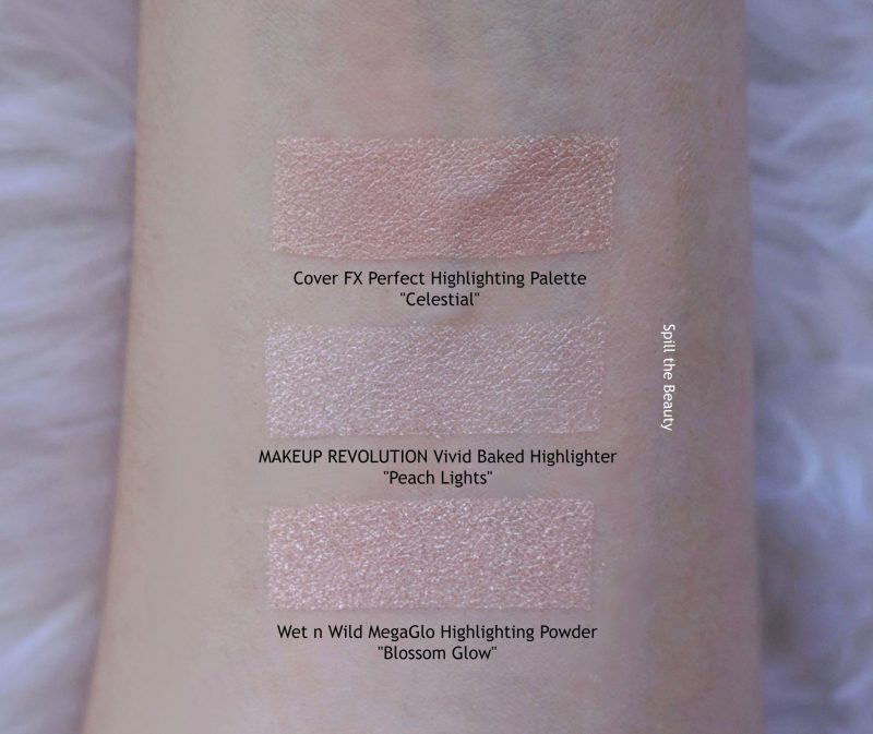 MAKEUP REVOLUTION VIVID BAKED HIGHLIGHTER PEACH LIGHTS REVIEW SWATCHES DUPE