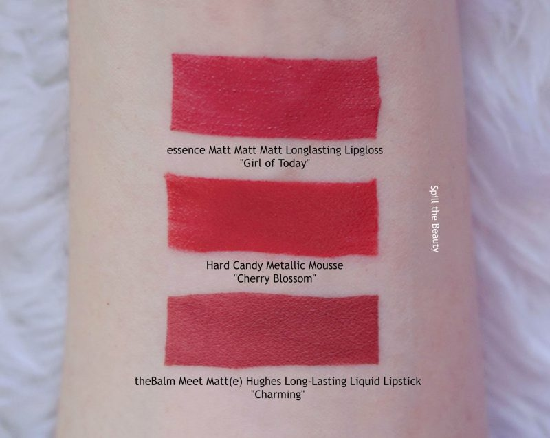 hard candy metallic mouse liquid lipstick cherry blossom swatches comparison dupe thebalm essence