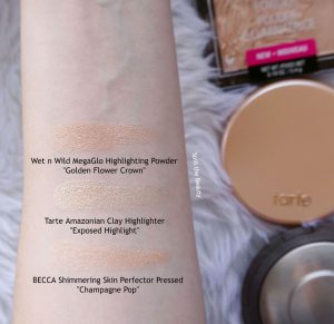 tarte amazonian clay highlighter exposed highlight review swatches comparison dupe becca champagne pop wet n wild golden flower crown