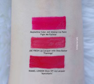 joe fresh lip lacquer with shea butter flamingo swatches comparison dupe