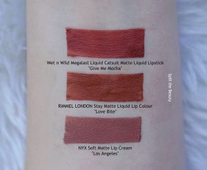 rimmel london stay matte liquid lip colour love bite swatches comparison dupe