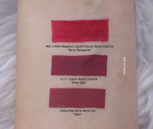 elf liquid matte lipstick swatches comparison dupe drugstore