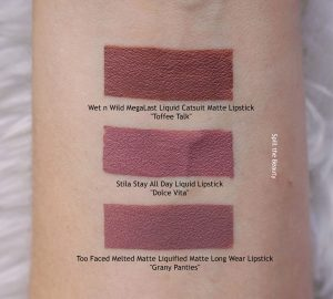 lip swatch stila dolce vita liquid lipstick dupe comparison
