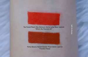 Fenty Beauty Mattemoiselle Plush Matte Lipstick freckle fiesta swatch comparison