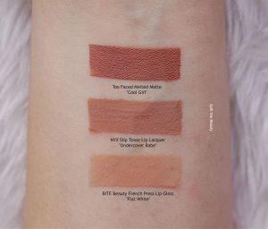 nyx undercover babe slip tease liquid lip lacquer swatches comparison