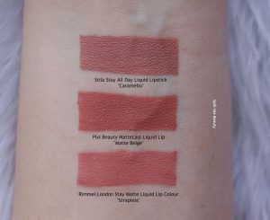 Pixi Beauty Matte beige liquid lipstick swatches comparison dupe