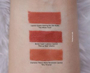 revlon rise up rose lipstick swatch comparison dupe drugstore