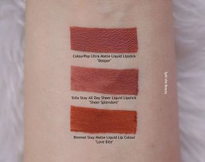 stila sheer splendore liquid lipstick swatches comparison dupe