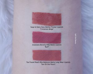 anastasia lipstick buff swatches comparison dupe