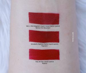 annabelle hypnotic BigShow Matte Liquid Lipstick swatches comparison dupe