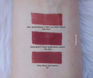 huda beauty pay day power bullet matte lipstick swatches comparison dupe