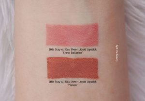 stila sheer ballerina swatches comparison