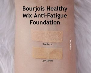 bourjous healthy mix foundation anti fatigue rose ivory light vailla review swatches before and after