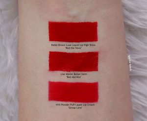 lise watier red hot kiss lip swatch dupe