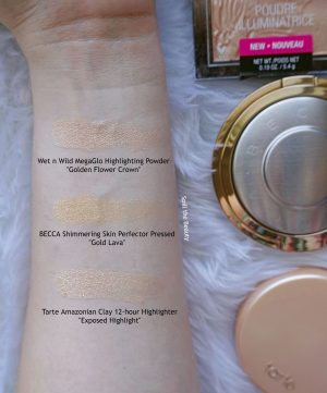 becca gold lava highlighter review swatches comparison